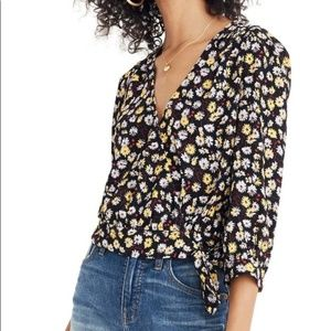 Madewell floral wrap top